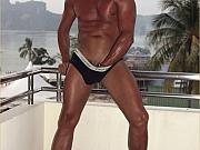 Gay hunk shows his rock hard cock