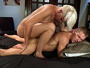 Danni Daniels blonde ts ass fucks and cums on Alex Adams
