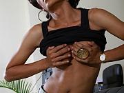 Thai Ladyboy Sonya strips and strokes her hard cock