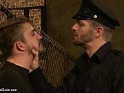 Officer interrogates his suspect in rough bondage sex