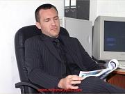Gay office hunk masturbates his big cock at his desk
