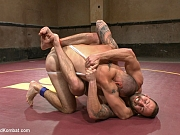 Wrestling jock overpowered in ring by gay opponent