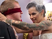 TS Foxxy in white lingerie ass fucks her husband Zane Anders