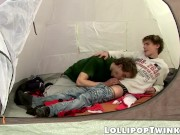 Twinks Karel Fox and Patrik Janovic bareback while camping