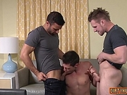 Muscle gay threesome and facial cum