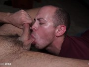 Submissive daddy begging for cum to swallow
