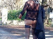 Public walk in short dress , stockings and High Heels