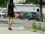 Crossdresser Sissy in public, wears minidress and high heels