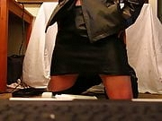 Crossdresser ALMOST CAUGHT dressed up playing with cock!