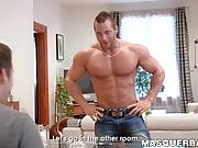 Muscular alpha male shows his body while solo masturbating