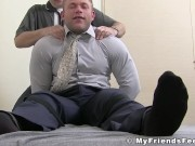 Hunky muscular guy bound and stripped for feet tickling
