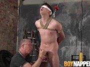 Blindfolded and tied up slave gets a handjob from old master