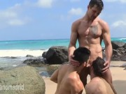 3 handsome hunk fuck each others in public beach