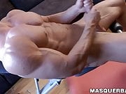 Muscular alpha male Brad works out and solo masturbates