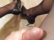 Stroking in pantyhose